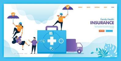 desenho de vetor de página de destino de seguro de saúde da família. fácil de editar e personalizar. conceito moderno de design plano de página da web, site, página inicial, interface do usuário de aplicativos móveis. personagem cartoon ilustração estilo simples.
