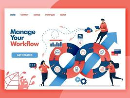 Design de vetor de página de destino para gerenciar seu fluxo de trabalho. fácil de editar e personalizar. conceito moderno de design plano de página da web, site, página inicial, interface do usuário de aplicativos móveis. personagem cartoon ilustração estilo simples.