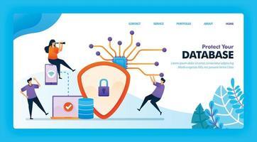 design de vetor de página de destino para proteger seu banco de dados. fácil de editar e personalizar. conceito moderno de design plano de página da web, site, página inicial, interface do usuário de aplicativos móveis. personagem cartoon ilustração estilo simples.