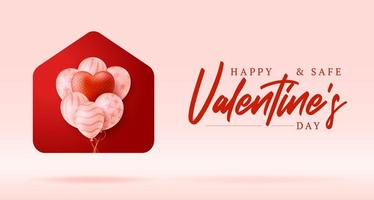 cartão de feliz dia dos namorados em casa vetor