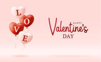 palavra de amor em corações realistas vetor