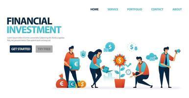 investimento financeiro com depósitos bancários e fundos mútuos para simplificar o investimento. crédito bancário com juros bancários moderados para empréstimos empresariais. investir para o futuro. ilustração para site, celular, pôster vetor