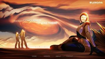 turista em traje espacial está sentado casualmente, apreciando a paisagem de Júpiter de perto, na lua europa vetor