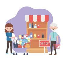 mulher feliz com carrinho cheio e homem preocupado com a cesta vazia esgotaram as compras em excesso vetor