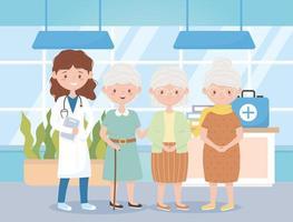 médica e avós do grupo no hospital, médicos e idosos vetor