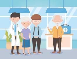 médico e grupo de velhos e velhas, médicos e idosos vetor