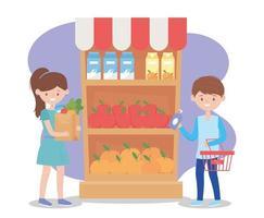 menina com sacola de supermercado e menino com garrafa de sabão na compra de excesso de supermercado vetor