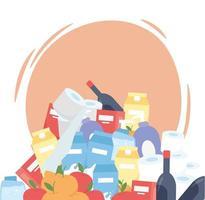 pilha de produtos de supermercado, compras em excesso de itens de limpeza de alimentos de garrafas de vinho vetor