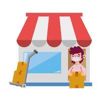 entregador mercado caixas de comércio eletrônico compras on-line covid 19 coronavirus vetor