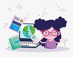 educação online, aluna com livros estudo mundo laptop