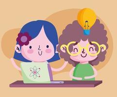 educação on-line, estudante menina e menino com desenho de estudo de laptop