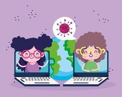 educação online, alunos em laptops com tela de conexão mundial, pandemia de coronavírus vetor