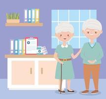 casal de avós em quarto de hospital, vetor