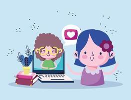 educação online, aluna com laptop video boy ensinando livros vetor