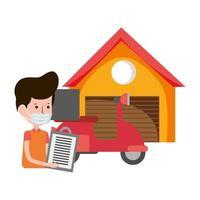 entrega homem motocicleta armazém comércio eletrônico compras on-line covid 19 coronavirus vetor