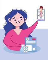 mulher com smartphone e homem desenho vetorial de médico vetor