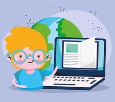 educação online, estudante menino laptop ebook mundo estudando vetor