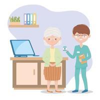 enfermeira dando remédio no atendimento a pacientes idosas, médicos e idosos vetor