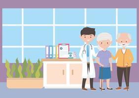 médico e avós no hospital, médicos e idosos vetor