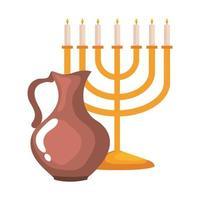 lustre de Hanukkah dourado e bule de cerâmica vetor