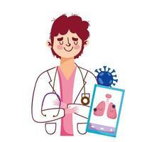 homem médico smartphone e design de vetor de vírus covid 19
