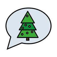 Feliz Natal Feliz Pinheiro em linha de bolha de fala e ícone de estilo de preenchimento