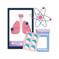 pulmões de smartphone e design de vetor de vírus covid 19