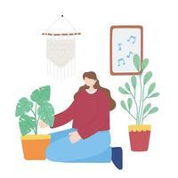 fica em casa, menina cuida das plantas, auto-isolamento, atividades em quarentena para coronavírus