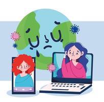 mulheres doentes mundo laptop e design de vetor de smartphone