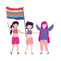Parada do Orgulho LGBT comunidade, mulheres e homens com bandeira juntos ativista vetor