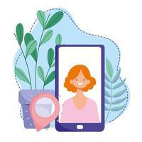 treinamento online, ponteiro de navegação de mulher para smartphone, desenvolvimento de conhecimento de cursos usando internet vetor