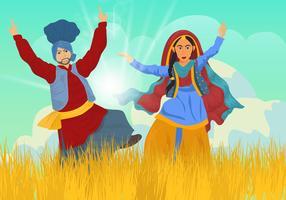 Mulher e homem dança da agricultura comemora vetor