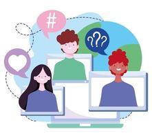 treinamento online, jovens estudantes, conexão aula de informática a distância, cursos desenvolvimento de conhecimento via internet vetor
