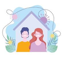 ficar em casa, casal juntos em casa prevenção coronavírus covid 19 surto vetor