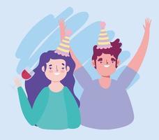 aniversário ou reunião de amigos, homem e mulher com chapéus e evento de celebração do copo de vinho vetor