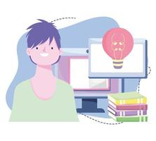 treinamento online, computador do aluno e livros, desenvolvimento de conhecimento de cursos usando internet vetor