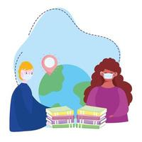 treinamento on-line, livros mundiais de máscaras médicas, cursos de desenvolvimento de conhecimento usando internet vetor