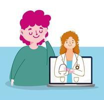 homem mulher médico e laptop vector design