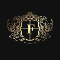 emblema de pássaro dourado elegante heráldico vetor