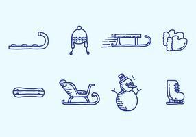 Conjunto de ícones de Toboggan vetor
