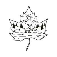 paisagem e design de t-shirt com linha de cervos vetor