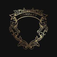 escudo elegante emblema dourado vetor