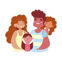 mãe e pai se abraçando com as filhas desenho animado vetor