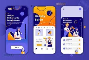 Kit de design exclusivo de salão de beleza para histórias em redes sociais. vetor