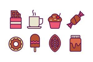 Alimentos doces de chocolate vetor