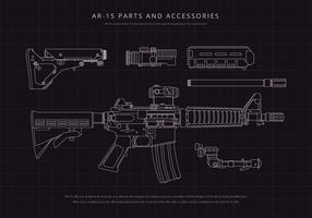 Ilustração do Mecanismo AR15 vetor