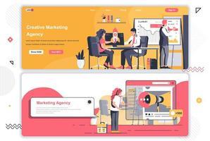 conjunto de páginas de destino da agência de marketing criativo. vetor