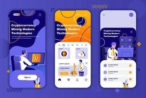 kit de design exclusivo de mineração de criptomoedas para histórias em redes sociais. vetor