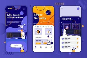 kit de design exclusivo de segurança cibernética para histórias em redes sociais. vetor