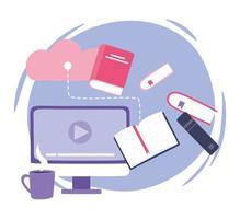 treinamento online, livros de armazenamento em nuvem de computador e xícara de café, educação e cursos de aprendizagem digital vetor